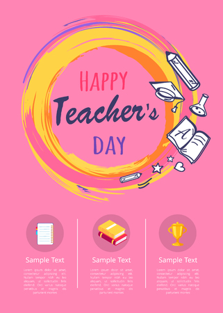 Happy Teachers Day Poster with Icons of Stationery Ilustração