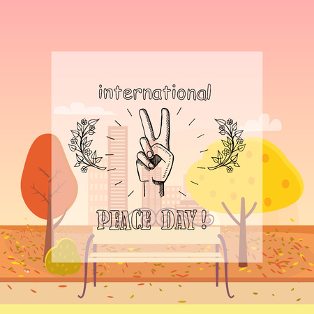 International peace day poster on 21 September 2017 vector. Hand nonverbal sign with two fingers meaning freedom on autumn city park background