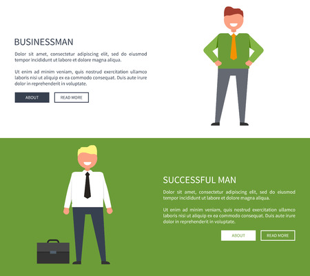 Smiling businessman and successful man with black case near to him. Vector illustration of web page design with icons of people and room for text and buttons