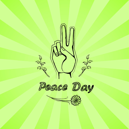Peace day poster on 21 September 2017 vector. Hand nonverbal sign with two fingers meaning freedom with branches, flower on green background with rays