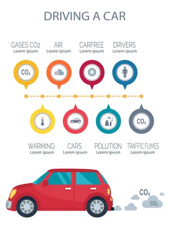 Het besturen van een auto-poster die het transportpictogram en de uitstoot van CO2 vertegenwoordigt, ons milieu vervuilende tekensymbolen vectorillustraties op wit worden geïsoleerd