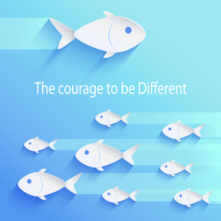 The courage to be different, motivational picture of flock of fish in same direction and big one swimming in opposite way vector illustration