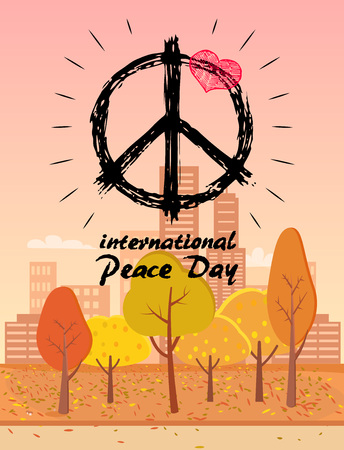 International Peace Day logo with hippie symbol with a small heart. Background of vector illustration is autumn city park with yellowed trees