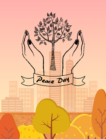 Peace Day logo with plant surrounded by two hands. Vector illustration on background of autumn city park with golden trees and high skyscrapers