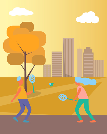 Couple playing badminton and warming-up in local city park in autumn, having fun surrounded by trees, skyscrapers and fresh air vector illustration