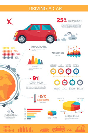 Driving a car disadvantages on poster with pie charts, bar graphs and statistics that compromise vehicles. Vector illustration of banner for Car Free Day