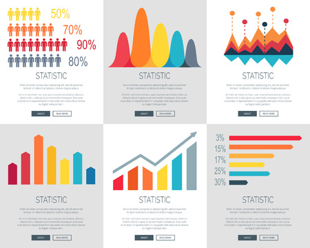 Statistic illustration set of six versions of web page design with different colored bar graphs. Vector illustration of statistics with space for text filling