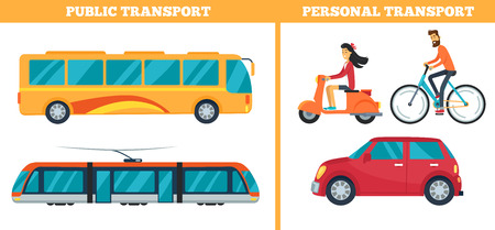 Public and personal transport represented by train, yellow bus, moped with bicycle and car. Vector illustration of different types of city transport Illusztráció