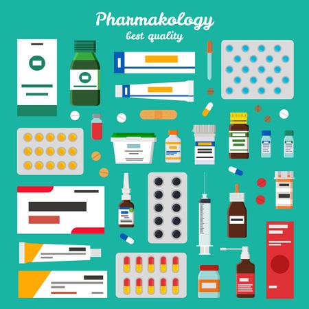 Farmacologie beste kwaliteit vectorillustratie Stock Illustratie