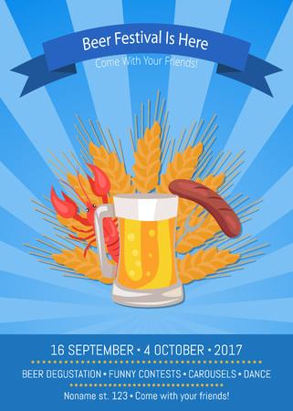 Beer Festival is Here Vector Illustration on Blue