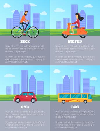 Different types of transportation vector illustration