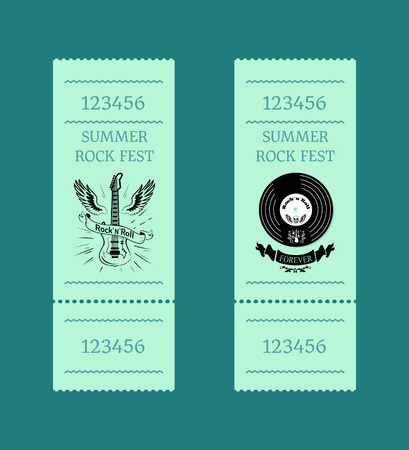 Summer Rock Fest Set of Tickets on Blue-Green