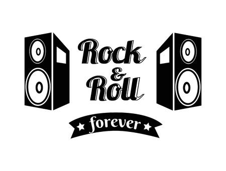 Rock n roll Forever Ribbon Vector Illustration Vetores