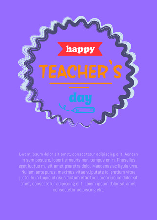 Happy teachers day promotional poster with circle in centerpiece, red ribbon and text sample vector illustration isolated on purple Illustration