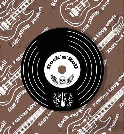 Rock n roll Vinyl and Skull Vector Illustration Illustration