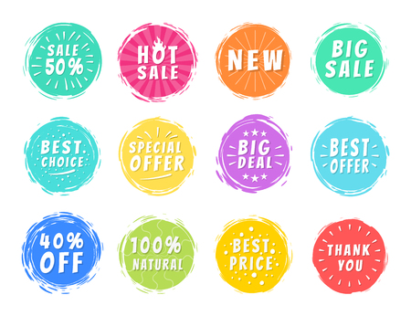 Special Offers Set of Colorful Icons on White Illustration
