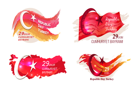 Republic day turkey 29 october, national celebration, picture representing turkish flag and title vector illustration isolated on white