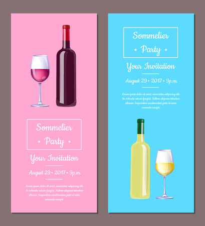 Sommelier Party, Invitation Vector Illustration
