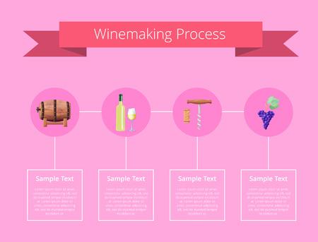 Ilustración del vector del proceso de vinificación en rosa