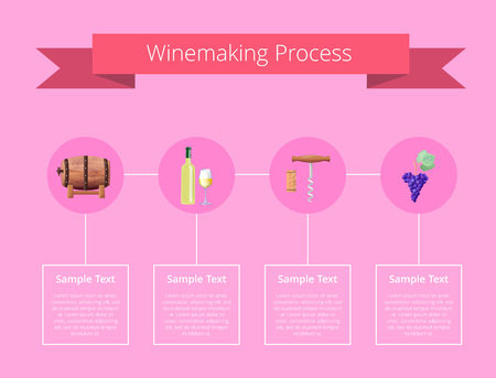 Winemaking Process Vector Illustration on Pink