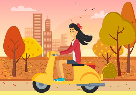 Woman Driving Scooter in Autumn City Park