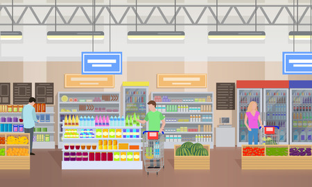 Supermarket People Shopping Vector Illustration