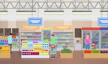 Supermarket ludzie zakupy ilustracji wektorowych Ilustracje wektorowe