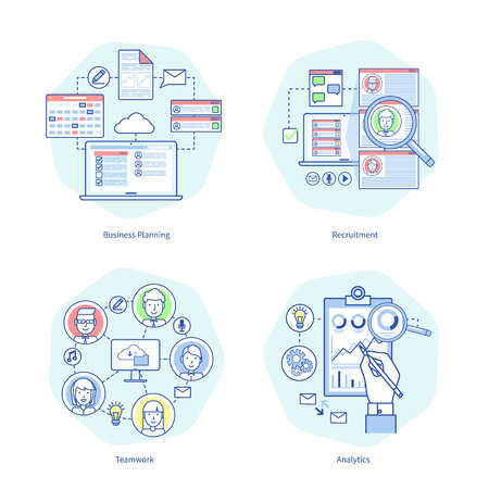 Business planning and recruitment, teamwork and analysis pictures representing innovative techniques and their usage in work vector illustration