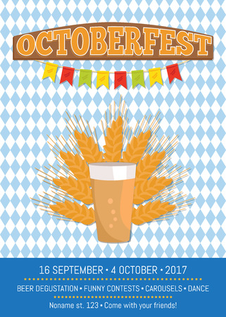 Octoberfest creative poster with information about punt of dark beer in transparent glass vector on with ears of wheat. Light alcohol drink with bubbles