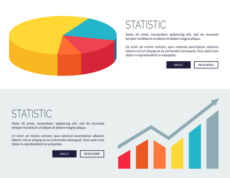 Statistic demonstration with colorful pie chart and bar graph. Vector illustration developed for web pages with room for text and buttons Illustration