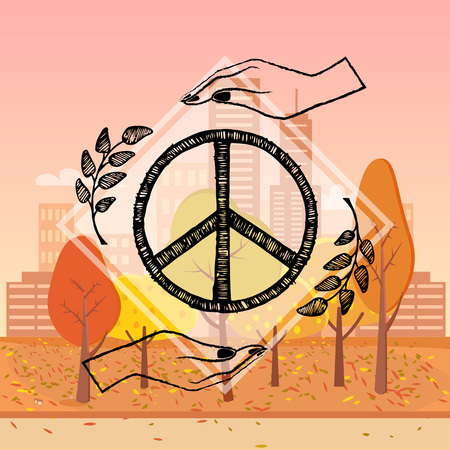 International peace day poster with two hands protecting sign of freedom vector illustration with olive branches on on autumn city park background Illustration