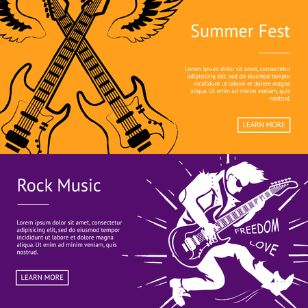 Summer fest and rock music collection of banners. Vector illustration of criss-crossed guitars with wings and white silhouette of guitarist playing