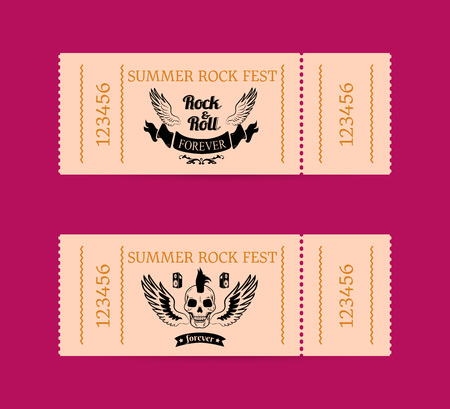 Summer rock fest set of tickets on dark pink. Vector illustration of wings with inscription in between, skull with mohawk and small speakers above Illustration
