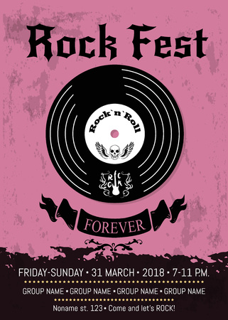 Rock fest announcement with vinyl disc with skull on it. Vector illustration of advertising of rocks festival with room for information about fest program