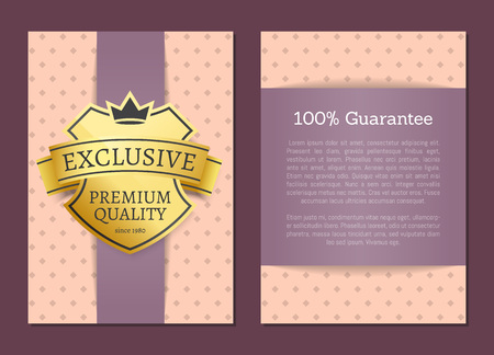 100 guarantee exclusive premium quality label with text sample for writing own ideas vector illustration isolated on elegant pink pattern Illusztráció