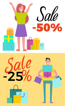 Sale -25 and -50 poster set pf two pictures with shopping people filled with happiness and joy holding bags vector illustration.