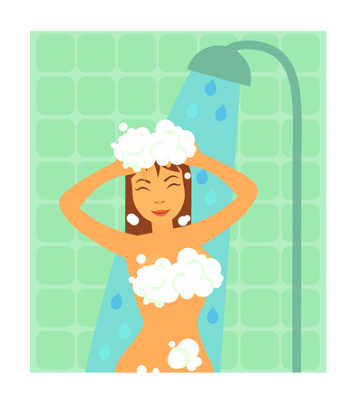 Brunette woman taking shower with foam before hard day , standing with closed eyes and smile on her face vector illustration on tiles background Vectores