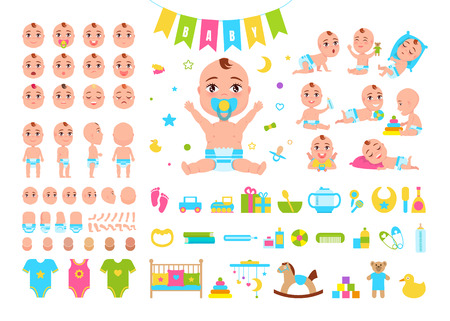 Baby constructor icons of kids expression, parts of body, clothes and toys as well as different activities on vector illustration isolated on white
