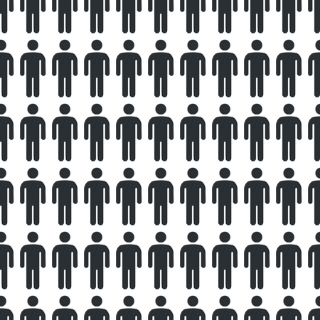 Black and white seamless pattern with big icon of man. Shape of person on vector illustration is black isolated on white background