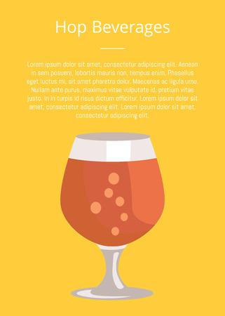 透明ガラス ベクトルのビールのテキストとスニフター グラスとホップ飲料ポスター。暗いアルコール飲料、オクトーバーフェスト祭のシンボル
