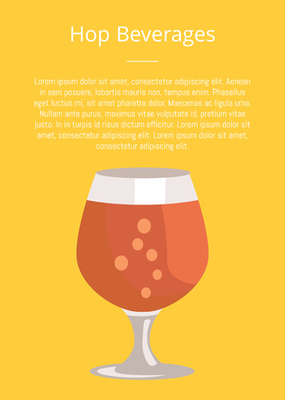 Hop beverages poster with text and snifter glass of beer in transparent glassware vector. Dark alcohol beverage, symbol of Oktoberfest fest