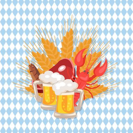 市松模様の背景の 2 パイント ビール、ハム、乾燥魚、ザリガニ、オクトーバーフェスト、小麦スナックのセット ベクトル イラスト