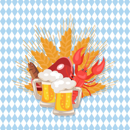 Set of two pints of beer, snacks as ham, dry fish, crayfish and wheat at octoberfest, vector Illustration on checkered background Иллюстрация