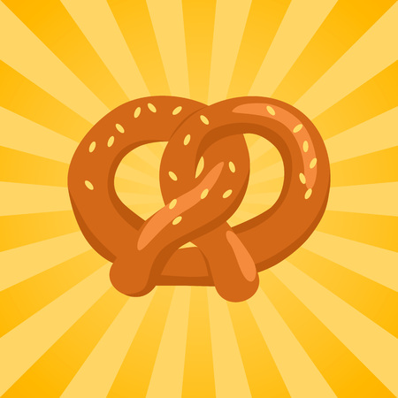 Pretzel crisp biscuit baked in form of knot and flavored with salt vector in concept of Oktoberfest or Octoberfest festival on background with rays