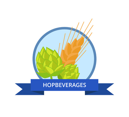 Hop beverages logo with golden wheat vector isolated in circle with blue ribbon. Plants cultivated for use by brewing industry, flavor ingredients in beer Illustration