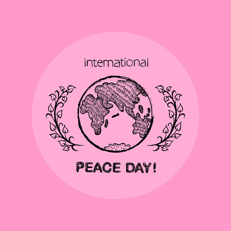 Earth surrounded by 2 twigs on both left and right sides symbolizes International Peace Day. Vector illustration isolated on light pink background