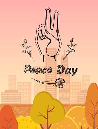 International peace day poster on 21 September 2017 vector. Hand nonverbal sign with two fingers meaning freedom with two branches on autumn landscape Illusztráció
