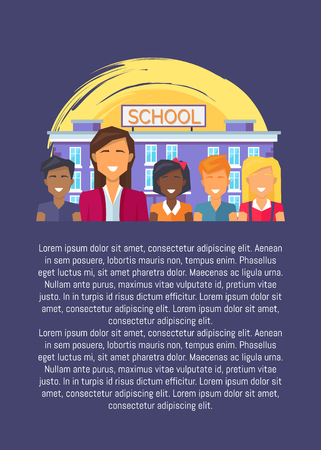 Teacher and Multinational Pupils Opposite School