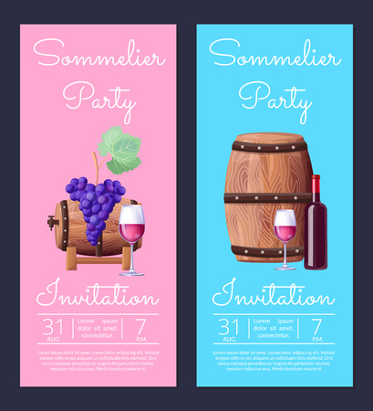 Sommelier party invitation with date of event, images of wine bottle and glasses, grapes and barrel vector illustration isolated on blue and pink