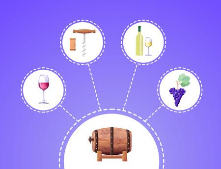 Winemaking Process Vector Illustration on Blue